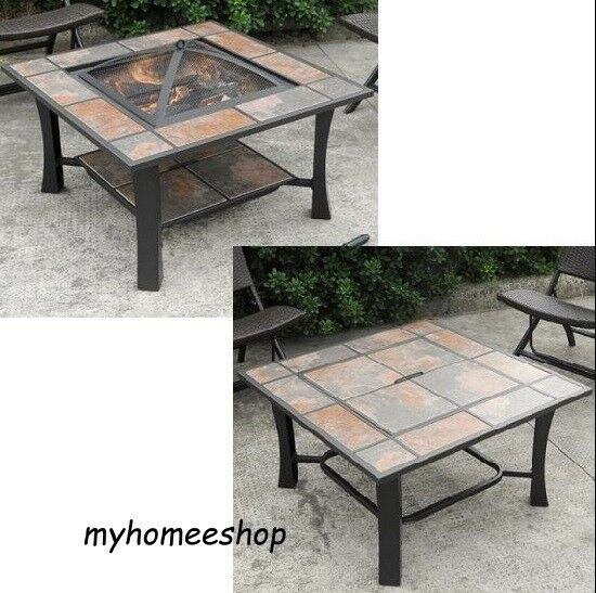 Patio Ceramic Tile Top Fire Pit Coffee Table Heater Fireplace Square Wood Burnin