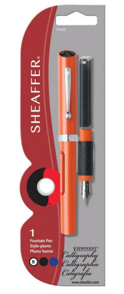 Sheaffer Calligraphy Pen Viewpoint Orange with 2 ink cartridges Broad Pt
