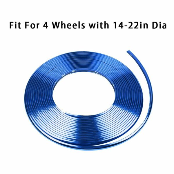8M Blue Car Wheel Hub Rim Trim Glossy Tire Guard Rubber Strip Protector Sticker