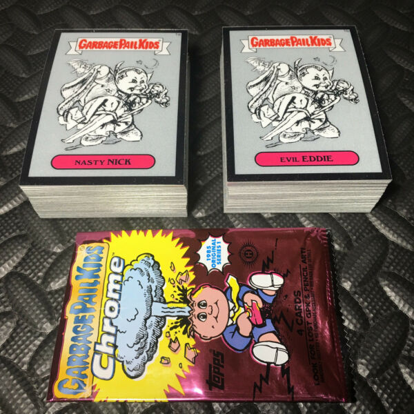 GARBAGE PAIL KIDS CHROME 1 COMPLETE 82-CARD PENCIL ART SET +WRAPPER 2013