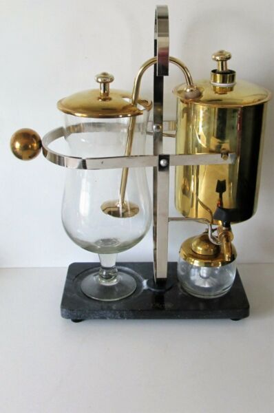 PERCO RETRO 1000 CL BALANCE COFFEE MAKER BELGIUM GOLD AND SILVER STYLE FINISH