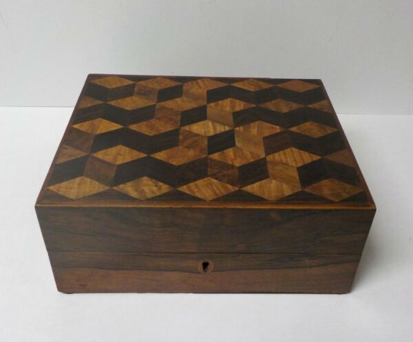 Rare Gentleman's Rosewood Travel  Shaving Box Inlaid Tumbling Cubes Design