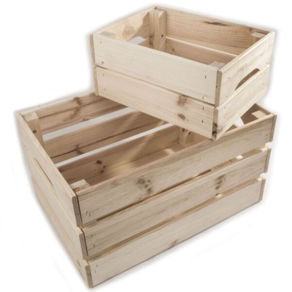 Wooden Crates Storage Boxes 2 Sizes Plain Unpainted Pinewood To Decorate Craft