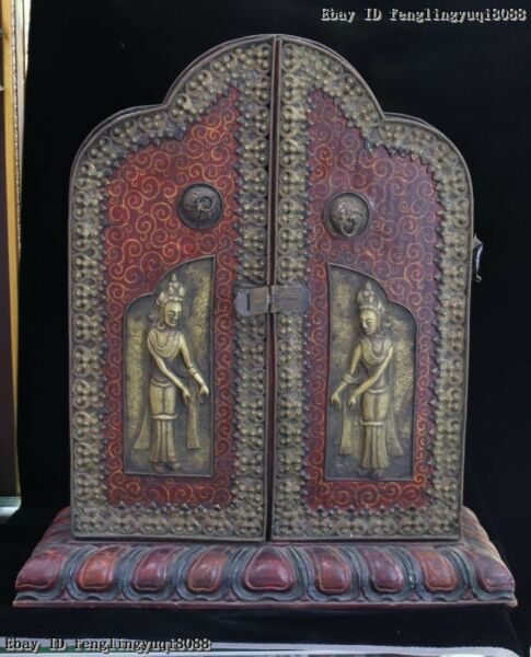 Old Tibet Buddhism Wood inlay Copper Cabinet Symbol Shrines Fokan Niches Shrine