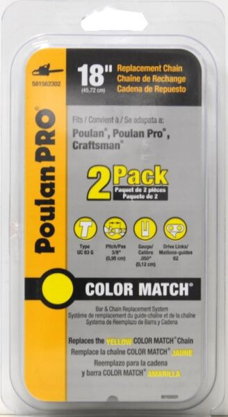 Poulan Pro 18inch Replacement Chainsaw Chain 2Pack $35.99