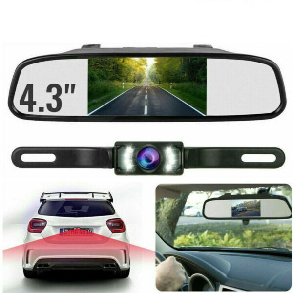4.3quot; Backup Camera Mirror Parking System Kit Car Rear View Reverse Night Vision