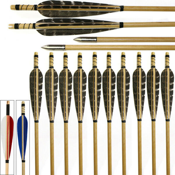 12 24 Pcs 31quot; Archery Hunting Wood Arrows Fletching Feathers Recurve Bow Longbow $46.99