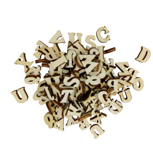 100pcs Mixed Unfinished Wooden Letters Alphabet Shapes For Scrapbooking DIY