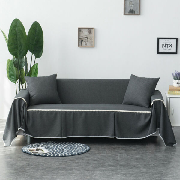 Slip Cover for Loveseat Sofa Couch Settee Pet Protectors Throw Smoky Grey $53.53