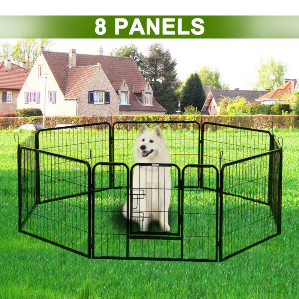 8 Panel Portable Heavy Duty Pet Kennel Dog Playpen Exercise Metal Cage Fence