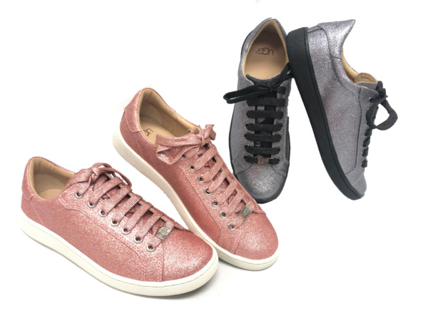 Ugg Australia Milo Glitter Pink Gunmetal Lace Up Sneakers Tennis Shoes 1100213