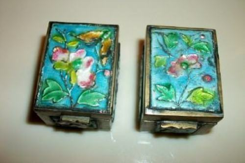 Antique Chinese Cloisonne Enamel Brass Stamp Box Pr. Aqua Chic Paris Apt Shabby