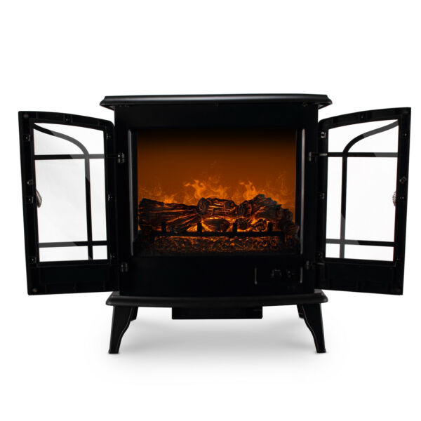 Free Standing Electric 1400W Fireplace Heater Fire Adjustable Flame Stove Heat