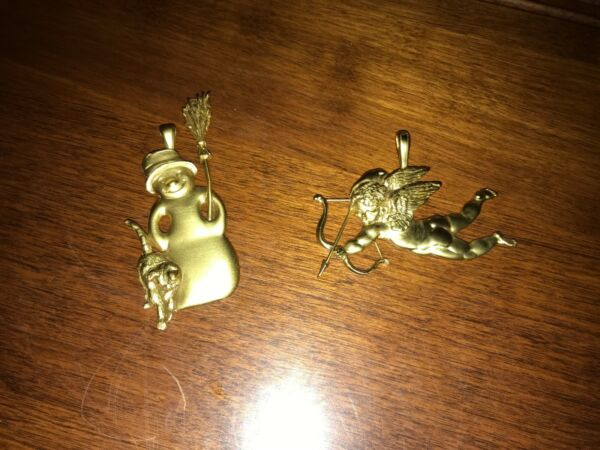 2 NEW Solid Brass Christmas Ornaments Snowman With Cat & Cupid With Bow & Arrow