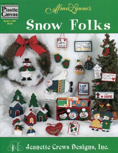 Snow Folks ~ Snowmen Village Ornaments & More plastic canvas pattern booklet NEW