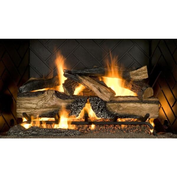 Emberglow Natural Gas Fireplace Split Oak Log Set 30 in. Vented Realistic Flame