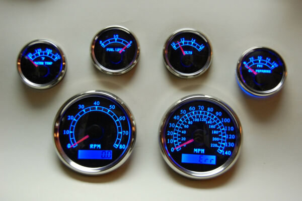 6 Gauge set w/senders,Speedo,Tacho,Oil,Temp,Fuel,Volt, BWB
