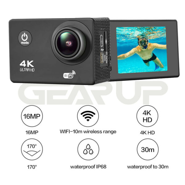 4K Ultra Wifi Sports Action Camera Waterproof HD DV 16MP 1080p DVR Cam Camcorder