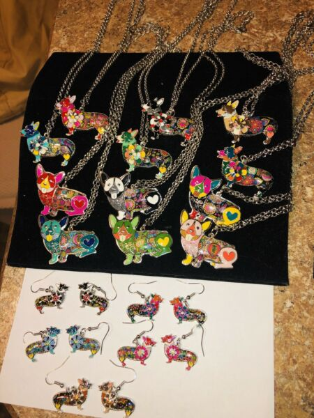 NEW Pembroke Welsh Corgi Dog Necklaces and Earrings Abstract You Choose $14.99