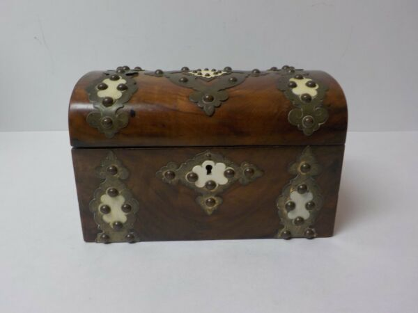 19th C. English Dome Top Walnut Tea Caddy Box Brass Trim with Accents