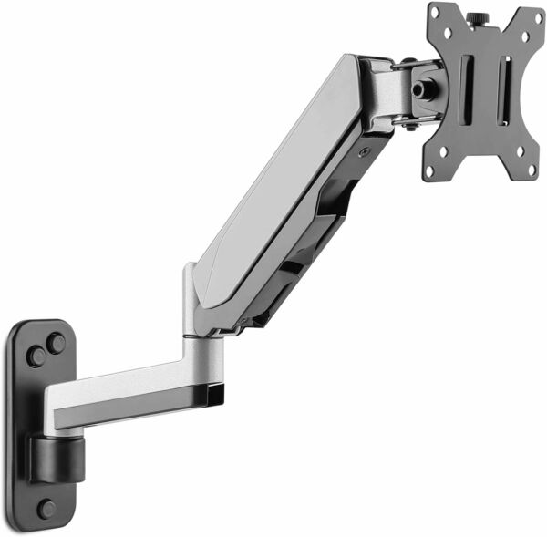 AVLT Power Aluminum Single Gas Spring Monitor Wall Mount with Extended Arm Riser