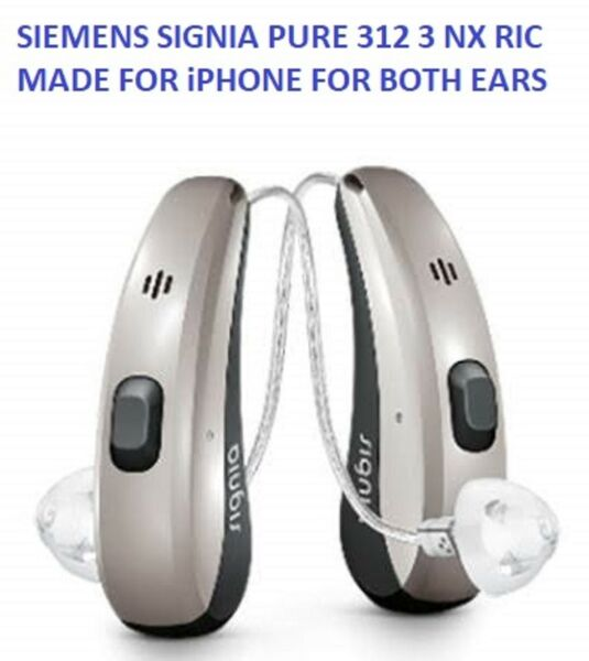 Pair of Siemens Signia Pure 312 3Nx Premium Hearing Aids Made for iPhone