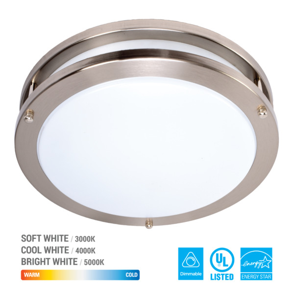 LED Ceiling Flush Mount Round Down Light Chrome Fixture Home Lamp Panel Dimmable