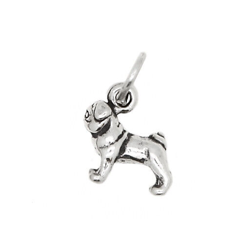 STERLING SILVER TINY CHINESE PUG DOG CHARM OR PENDANT $8.99