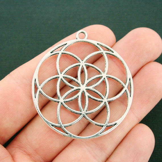 2 Flower of Life Charms Antique Silver Tone Large Size Pendant SC7527