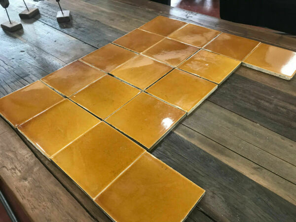 RARE Antique 17 American Encaustic Fireplace Surround Tiles Amber Glazed c 1890