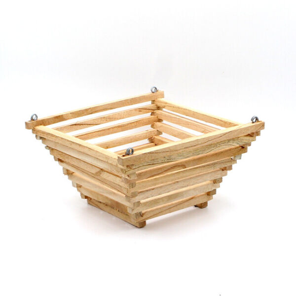 Wood orchid basket hanging wooden planter plant holder pyramid shape 8quot; $12.00