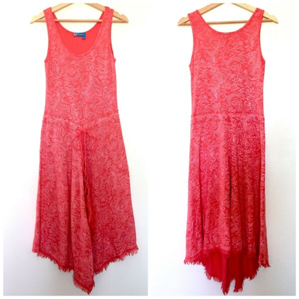 Fresh Produce Womens Coral Pink Floral Paisley Raw Edge Cotton Tank Dress Small