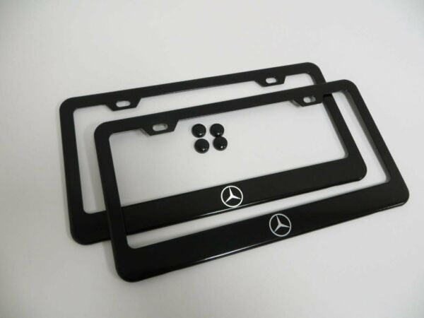 2X BLACK Stainless Steel License Plate Frame Cover RUST FREE For Mercedes Benz