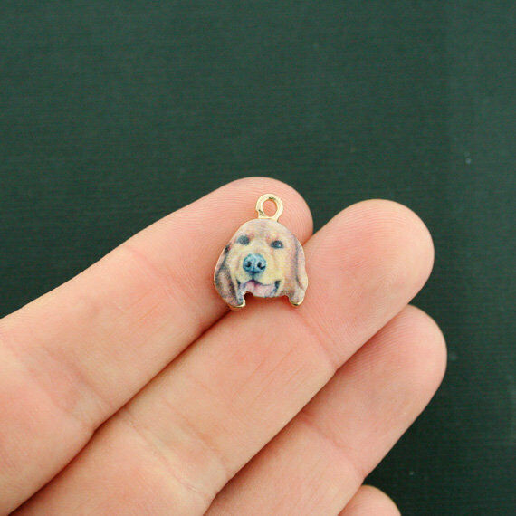 4 Dog Charms Gold Tone Enamel Retriever E620 $3.49