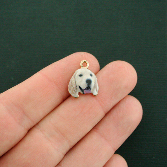 4 Dog Charms Gold Tone Enamel Labrador Retriever E616 $3.49