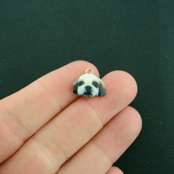 4 Dog Charms Gold Tone Enamel Shih Tzu E619 $3.49