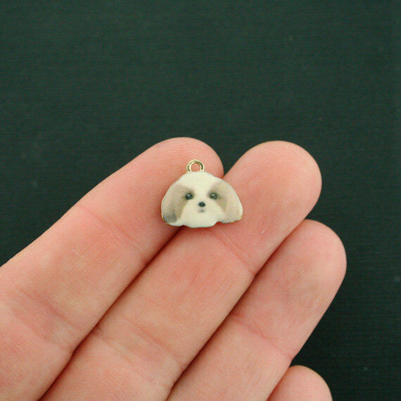 4 Dog Charms Gold Tone Enamel Shih Tzu E618 $3.49