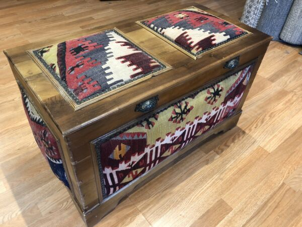 Cedar Chest - Antique Wooden Box - Turkish Kilim Rug Cushions - 19 x 22 x 36 in.