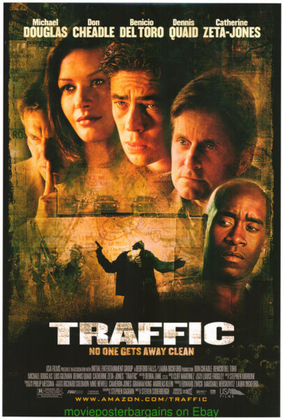 TRAFFIC MOVIE POSTER Original SS 27x40 Michael Douglas Benicio Del Toro 2000