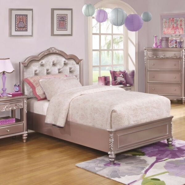 LOVELY METALLIC LILAC RHINESTONE TUFTED TWIN YOUTH BED BEDROOM FURNITURE $439.00
