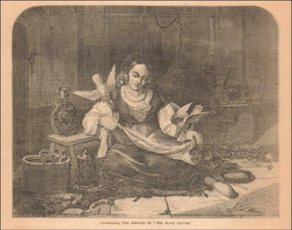 CINDERELLA FEEDING DOVES BY THE FIREPLACE antique engraving original 1857