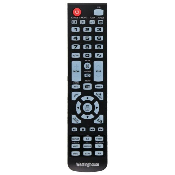 Westinghouse Remote Control TY 49B for Select Westinghouse TVs Black