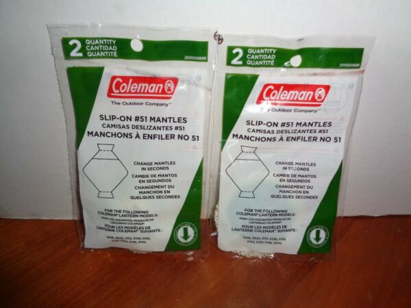 COLEMAN #51 LANTERN MANTLES BAYONET SLIP ON 2 2 PACKS 4 MANTLES TOTAL SEALED $13.95