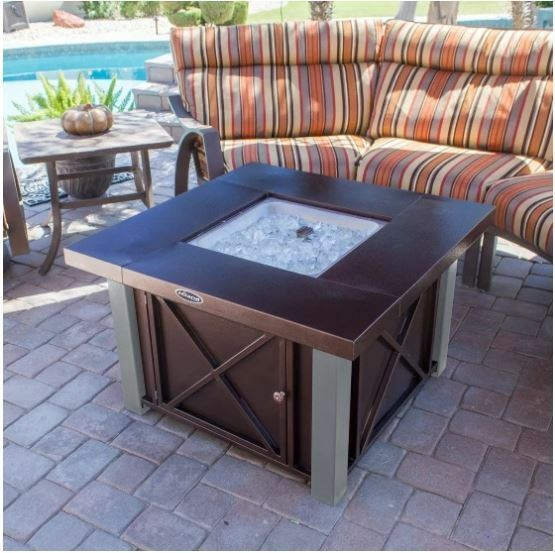Fire Pit Table Lid Outdoor Patio Propane Gas Heater Fireplace Backyard Furniture
