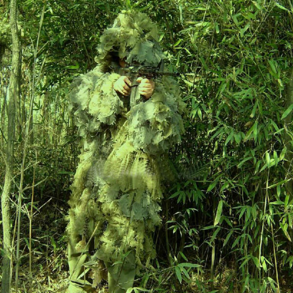 Fidragon Ghillie Suit Woodland Green Camouflage Ultra Light Camo Large