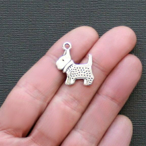 8 Dog Charms Antique Silver Tone Detailed Westie or Scottie 2 Sided SC2255 $3.49