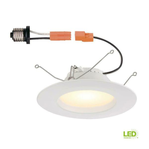 (4-Pack) Commercial Electric 5 in. and 6 in. White Integrated LED Recessed Trim