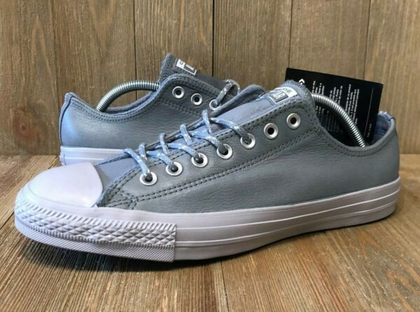Converse Chuck Taylor All Star Low Grey Leather Sneakers  157586C  NWOB