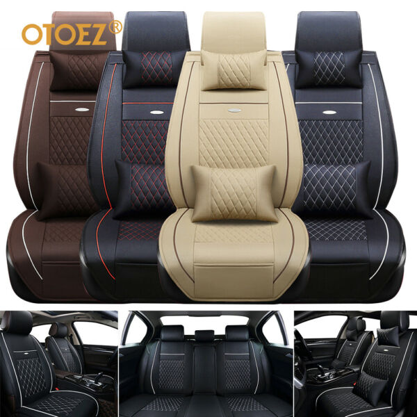 Universal Deluxe 5-Seats Car Seat Cover Front PU Leather +Rear Cushion WPillow