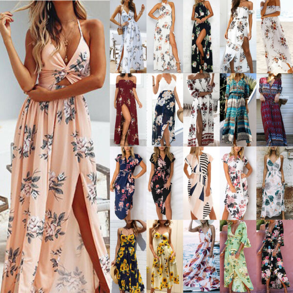 Womens Summer Boho Long Maxi Dress Evening Party Beach Floral Causal Sundress